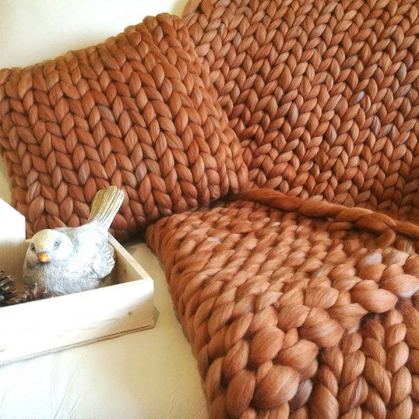 Gigantická deka z ovčí vlny, skořicovošedý melír