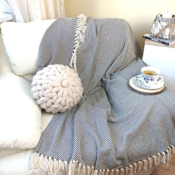 Pletený polštář z ovčí vlny kulatý, béžový